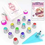 Russian Piping Tips Set 30 pcs - 14 Icing Frosting Nozzles (2 Leaf Tips) + 12 Baking Pastry Bags + Silicone Bag + 3 Couplers - Gift Box - Cake & Deco Cupcake Decorating Supplies Kit