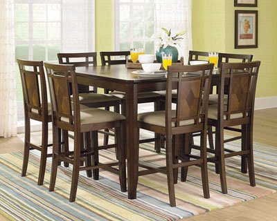 Walnut Finish Counter Height Dining Table by Coaster