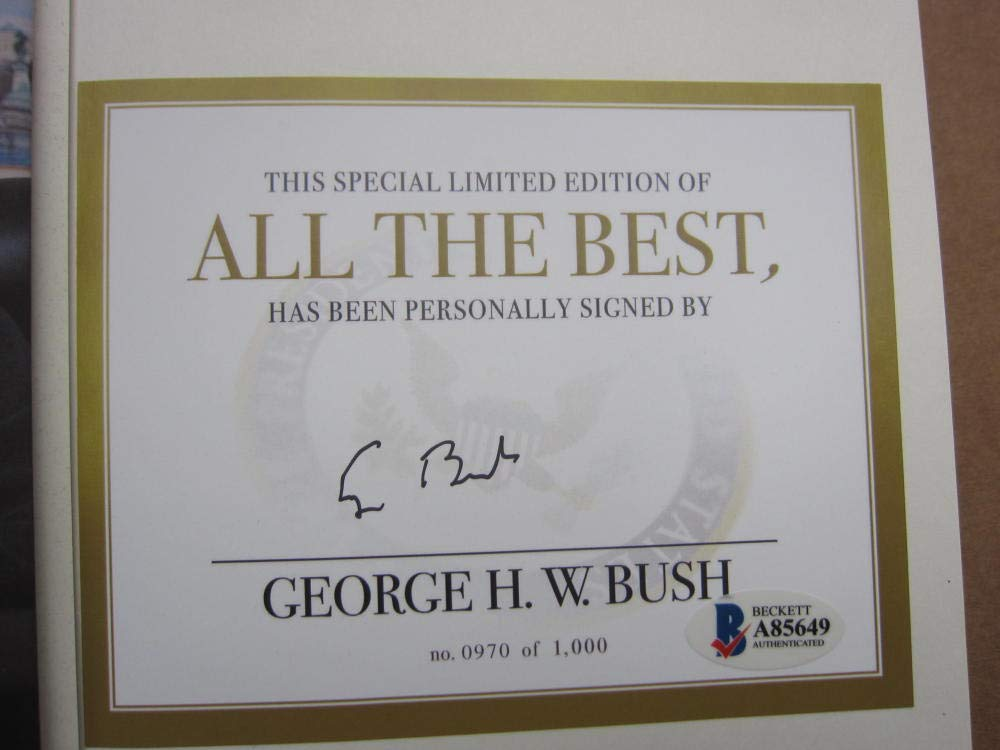 President George HW Bush 41 signed Book All The Best BAS Beckett COA Auth