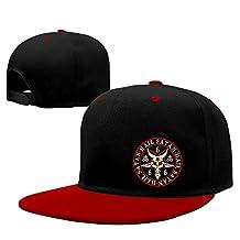 ROCE Men's Hail Satan Baphomet Goat Symbol Printing Logo Snapback Hat Red One Size