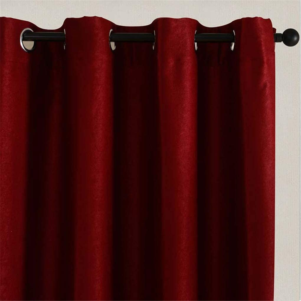 Deliciousan Solid Blackout Curtains for Kitchen Living Room Bedroom Velvet Fabric for Curtains for Window Treatments Curtains Drape Burgundy W150 x H250cm Pull Pleated Tape