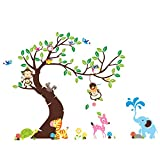 BININBOX Great Wall Decal Owl Monkey Elephant Turtle colorful colored nursery wall stickers Wall stickers