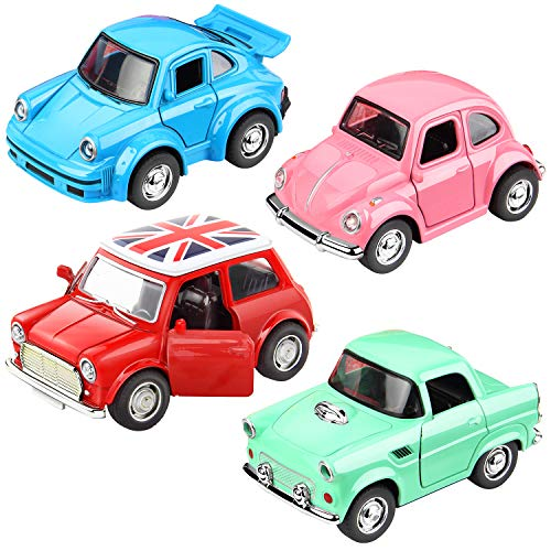 GEYIIE Classic Cars Toys, Die-cast Metal Toy Cars Set 4 Pack, Openable Doors, Pull Back Cars ()