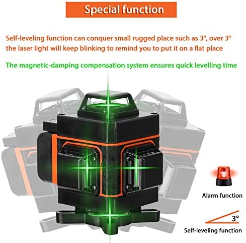 KKmoon Multifunctional 4D 16 Lines Level Tool Vertical Horizontal Line with Self-Leveling Function