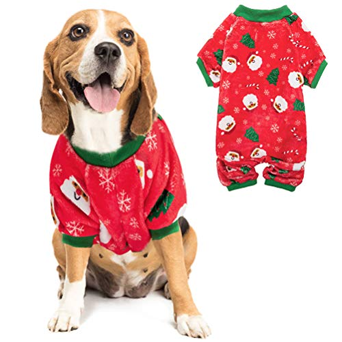 PUPTECK Flannel Dog Pajamas-Cute Santa Claus Snowflake Soft Pet Clothes Jumpsuit Pjs