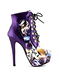 Show Story Black/Purple Lace Up Stiletto Heel Gothic Ankle Bootie Pump,LF80831