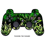 Skin Stickers for Playstation 3 Controller - Vinyl Leather Texture Sticker for DualShock 3 Wireless Game Controllers - Protectors Controller Decal - Weeds Black [ Controller Not Included ]