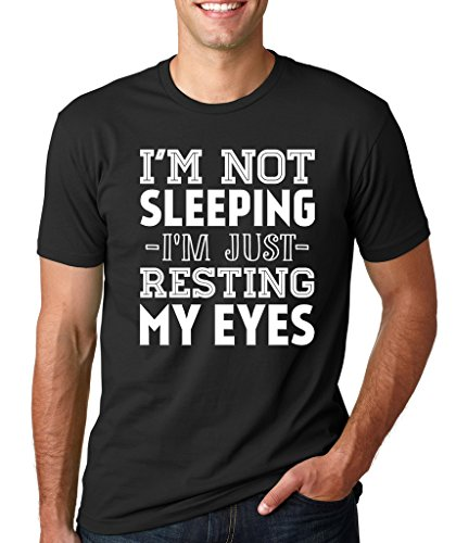 SignatureTshirts Men's I'm Not Sleeping Im Just Resting My Eyes T-Shirt (White Print) XL Black