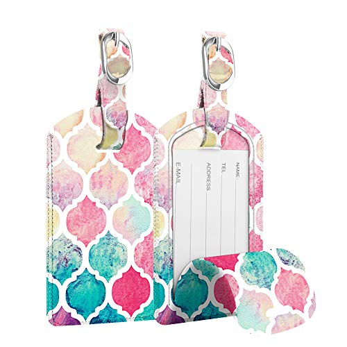 [2 Pack] Luggage Tags, Fintie Synthetic Leather Name ID Labels with Back Privacy Cover for Travel Bag Suitcase, Moroccan Love ()