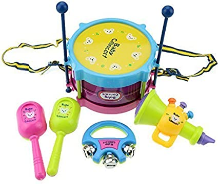 5pcs Kids Baby Roll Drum Musical Instruments Band Kit Children/'s Toy.