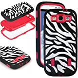 Galaxy S3 Case, S3 Case - SQDeal [ Shock Resistant Series ] 3in1 Hard Plastic + Soft Silicone Hybrid Rubber Case Cover for Samsung Galaxy S3 III i9300 (Zebra Black/Red)