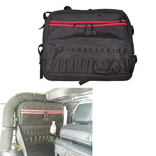 Bentolin Roll Bar Multi-Pockets Storage Organizers Cargo Bag Saddlebag For 2007-2017 Jeep Wrangler JK 2-door with Multi-Pockets & Organizers & Cargo Bag Saddlebag Tool Kits Holder (Saddlebag Tool Kit)