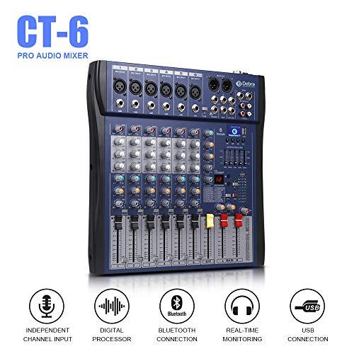 Good sound!!!USB Bluetooth dj controller mixer professional amplifier 6 channel audio Digital Effect karaoke KTV Wedding mixer