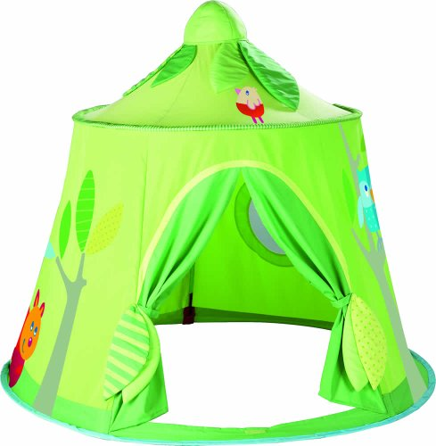 HABA Magic Forest Play Tent - Free-Standing Fabric Hut with Mesh Window and Door for Ages 18 Months and Up (Haba Play Tent)