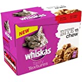 Whiskas Cat Food Pouch Tasty Textures Bite n Chew Meat 85 g (Pack of 4, 48 Pouches)