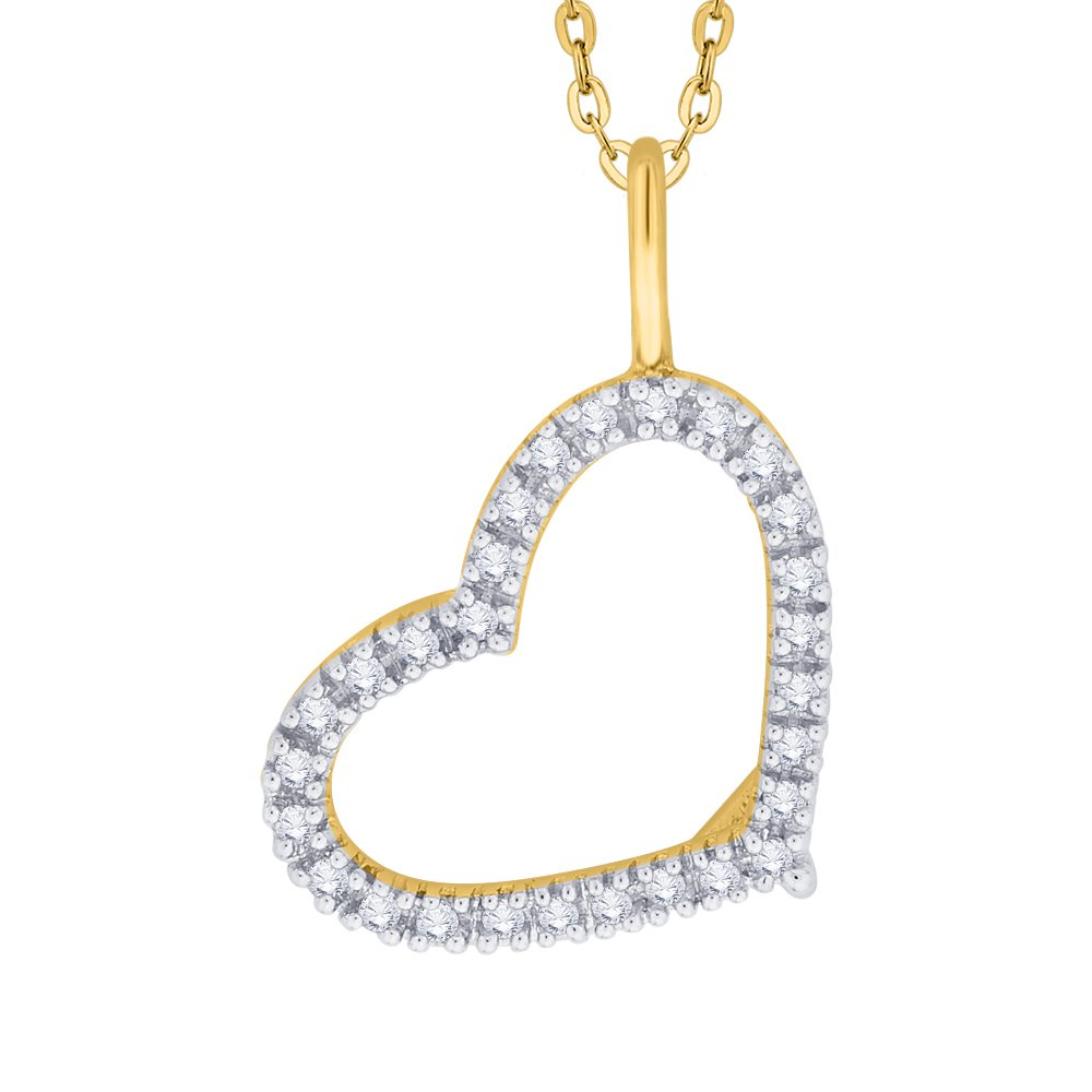 KATARINA Prong Set Diamond Heart Pendant Necklace in Gold or Silver 1//4 cttw, G-H, I2-I3