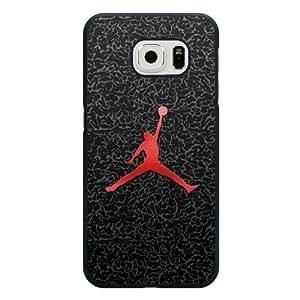 Galaxy S6 Edge Case, Customized Black Hard Plastic Galaxy S6 Edge Case, NBA Superstar Air Jordan Galaxy S6 Edge Case,Michael Jordan logo Jersey Galaxy S6 Edge Case(Not Fit Galaxy S6)