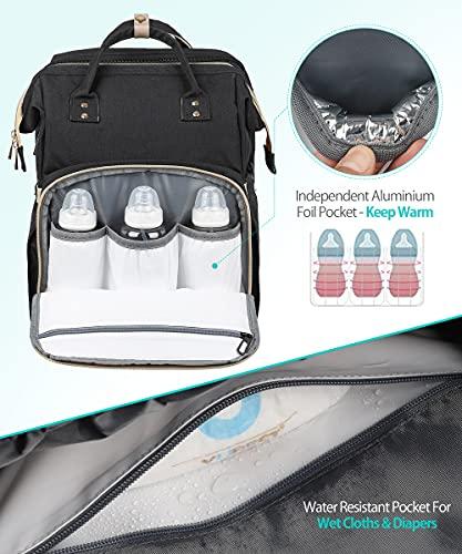 Diaper Bag Backpack, 3 in 1 Diaper Bag Backpack Travel Bassinet Portable Baby Bed, Portable Foldable Mommy Bag for Baby Girls Boys Maternity Mom (Black)