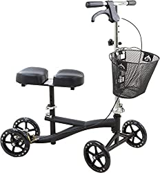 Roscoe Knee Scooter With Basket, Black, Knee Walker For Ankle Or For Foot Injuries, Height Adjustable Knee Crutch Medical Scooter