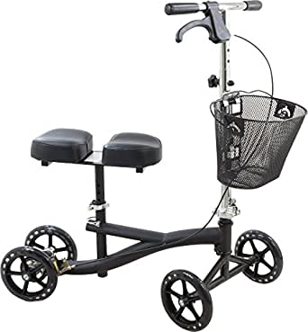 Roscoe Knee Scooter with Basket, Black, Crutch Alternative for Foot or Ankle Injuries, Adjustable Handlebar and Knee Platform Height, Increase Your Mobility, Stay Active While Recovering