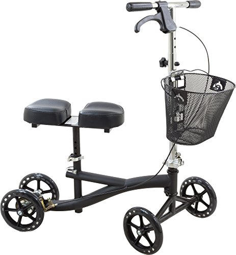 Roscoe Knee Scooter with Basket - Knee Walker for Ankle or Foot Injuries - Height Adjustable Knee Crutch Medical Scooter, Black