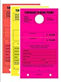 TEMPORARY PARKING PERMIT - Mirror Hang Tags, Numbered with Tear-Off Stub, 7-3/4'' x 4-1/4'', Bright Fluorescent Pink,Yellow and Red, 50 Per Pack - Triple-Pack (150 Tags)