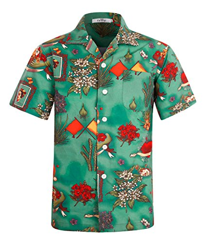 ELETOP Men's Hawaiian Shirt Short Sleeve Aloha Beach Party Shirt Casual Shirt Abstract Print Green L Abstract Button