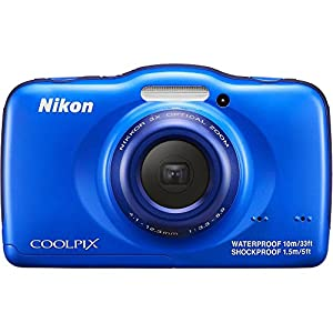 Nikon COOLPIX S32 13.2 MP Waterproof Digital Camera with Full HD 1080p Video (Blue)(Certified Refurbished) by Nikon