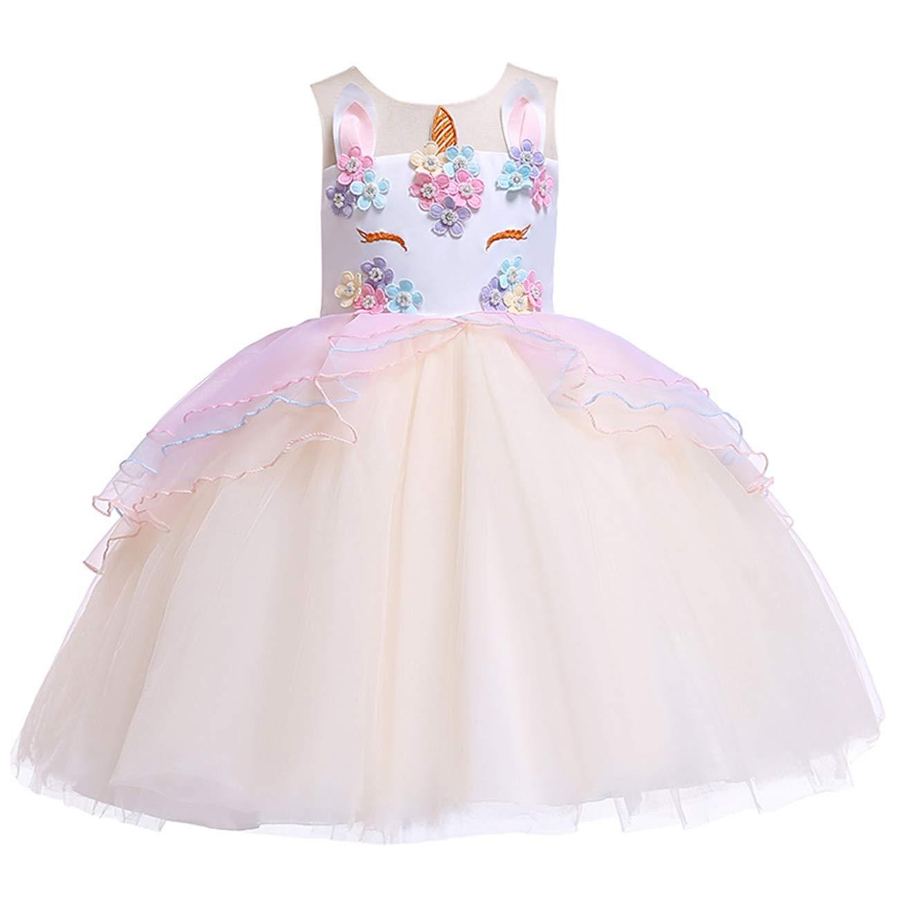 Niña Vestido Unicornio Disfraz Flor Cumpleaños Partido Bebé ...
