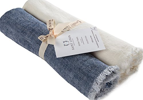 Set of 2 Linen Kitchen Towels Dish Cloth Stone Washed Towels in Ivory and Blue Size 17'' x 27''  Pure Linen with High Absorption, Soft Fabric and Lint-Free Safe for Machine Wash Drying