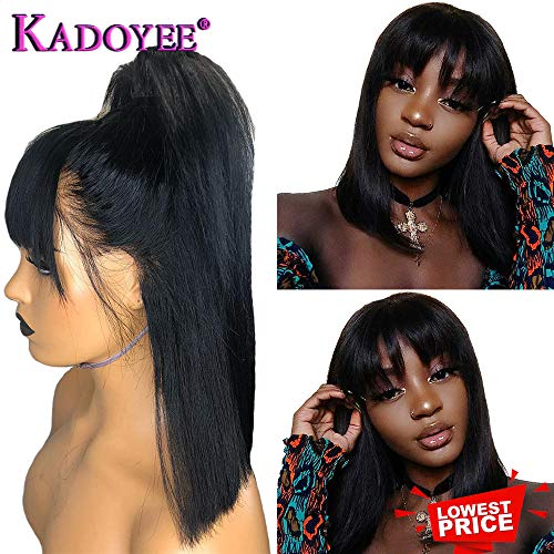 - Lovely Princess short BOb Straight hair with Bangs lace front wigs Brazilian human hair 100% Unprocessed Virgin hair with baby hair 13x4 Ear to Ear with Adjustable for black Women< Natural black 10in