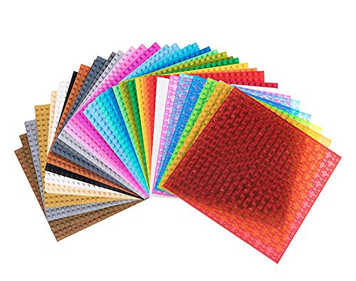 Strictly Briks Classic Baseplates 100% Compatible with All Major Building Brick Brands | Double Sided Stackable Bases | 36 Tight Fit Base Plates in 36 Fun Colors 6.25 x 6.25
