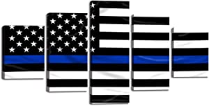 """Retro Thin Blue Line American Flag Wall Art Decor 5 Panels Black and White USA US Flag Canvas Painting Print Pictures Poster Artwork Home Decor for Living Room Framed Ready to Hang (60""""Wx32""""H)"""