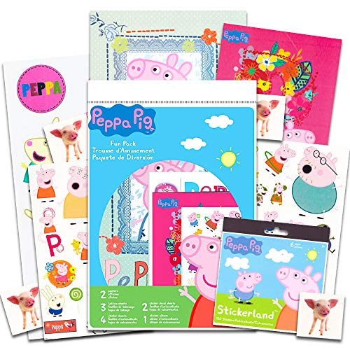 Peppa Pig Party Supplies Set for Boys Girls ~ Over 60 Stickers, 60 Temporary Tattoos, 17 Large Wall Decals, 2 Posters and More (Peppa Pig Party Favors and Decorations Pack)
