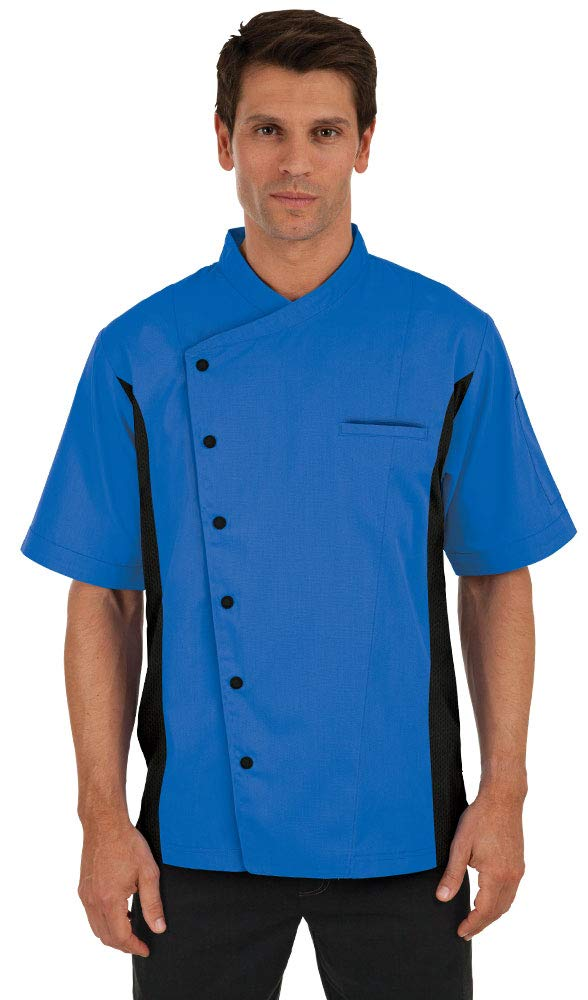 Men's Short Sleeve Chef Coat with Mesh Sides (XS-3X, 2 Colors) (X-Large, Ocean Blue/Black) by ChefUniforms.com