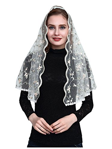 Orthodox Veil Embroidered Head Covering Catholic Chapel Mantilla veil V48 (light color) - Embroidery Veil