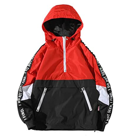 Easytoy Mens Pullover Hooded Waterproof Lightweight Windbreaker Jackets (Red, S)