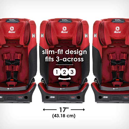 51EmkaECG0L - Diono Radian 3QX 4-in-1 Rear & Forward Facing Convertible Car Seat | Safe+ Engineering 3 Stage Infant Protection, 10 Years 1 Car Seat, Ultimate Protection | Slim Design - Fits 3 Across, Red Cherry