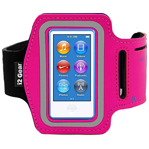 Running and Exercise Workout Armband Case for iPod Nano 8th and 7th Generation Devices with Adjustable Sport Arm Band, Reflective Border, Touch Screen Protection and Key Holder (8 G 7 G Pink) (7 Ipod Pink Case Nano)