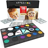 ARTEZA Kids 16 Colors Face Paint Set Non-Toxic Water-Based Paints with 24 Stencils, 4 Applicator Sponges, 2 Brushes, 2 Jars of Glitter, and 24 Stencils for Halloween, Costumes, Parties, and Festivals