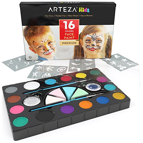 ARTEZA Kids 16 Colors Face Paint Set Non-Toxic Water-Based Paints with 24 Stencils, 4 Applicator Sponges, 2 Brushes, 2 Jars of Glitter, and 24 Stencils for Halloween, Costumes, Parties, and Festivals -