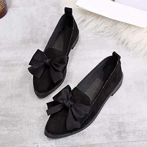 Nero Tacco Prua In Pelle Yunyoud Lavoro Punta Moda Fascino Scamosciata Elastico Di Scarpe Flessibile Pieno Donna scarpe Incantesimo Quadrato Da qAXw0HP