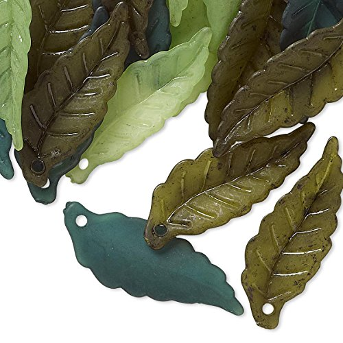 50 Big 1 inch Plastic Acrylic Assorted Frosted Colored Leaf Drop Bead Charms (Mixed - Charms Leaf Beads