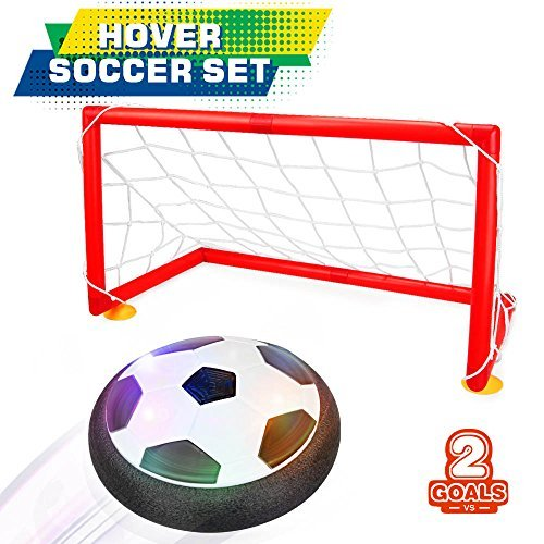 Bonwayer Kids Sports Toys Soccer Football Goal Set Hover Ball with 2 Gates for...