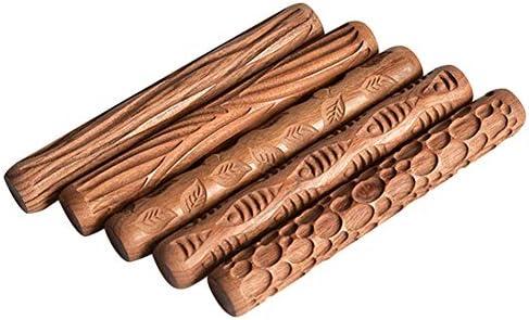 Lzttyee 木製ハンドル 陶器ツール 粘土モデリングパターン ローラーキット ブラウン 5個セット