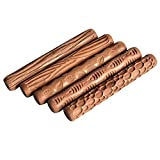 Lzttyee Set of 5 Wooden Handle Pottery Tools Clay Modeling Pattern Rollers Kit Brown