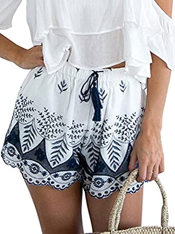 Simplee Apparel Women's Boho Embroidered Tassel Drawstring Cotton Beach Shorts White - Beach Apparel