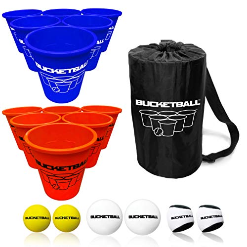 BucketBall - Team Color Edition - Combo Pack (Navy Blue/Orange): Original Yard Pong Game: Best Camping, Beach, Lawn, Outdoor, Family, Adult, Tailgate Game, Denver