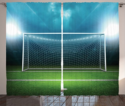 Ambesonne Sports Decor Curtains by, Soccer Goal Post Sports Area Winner Loser Line Floodlit Best Team Finals Game Gym Theme, Living Room Bedroom Decor, 2 Panel Set, 108 W X 84 L Inches, Green Blue by Ambesonne