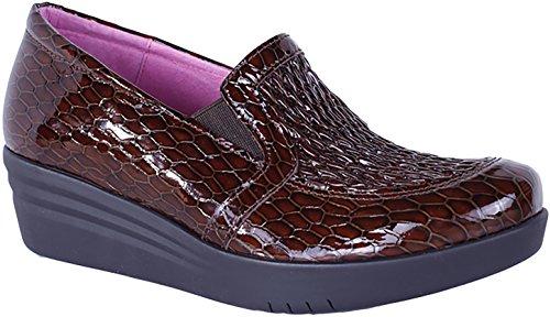 Helle Mode Komfort Kvinna Laima Läder Stretch Övre Loafer Brun